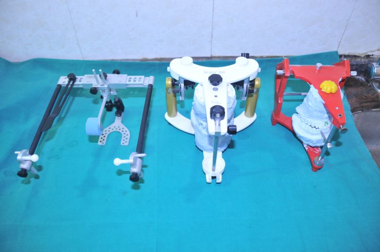 1. facebow used in full mouth rehabilitation 2. middle one is hanaus articulator & 3. is three point articulator (1)